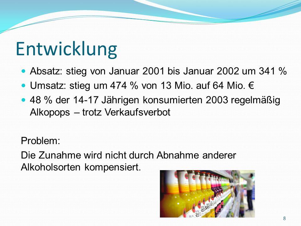 Steuerentstehung Frühjahr 2004 Idee einer Steuer von der rot – grünen Regierung Gesetz tritt zum 01.07.2004 in Kraft Sondersteuer (spezielle Verbrauchssteuer) Lenkungssteuer Hängt vom Alkoholgehalt ab Pro Flasche ca.