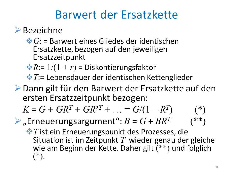 Barwert der Ersatzkette Bezeichne G : = Barwert eines Gliedes der identischen Ersatzkette, bezogen auf den jeweiligen Ersatzzeitpunkt R := 1/(1 + r) =