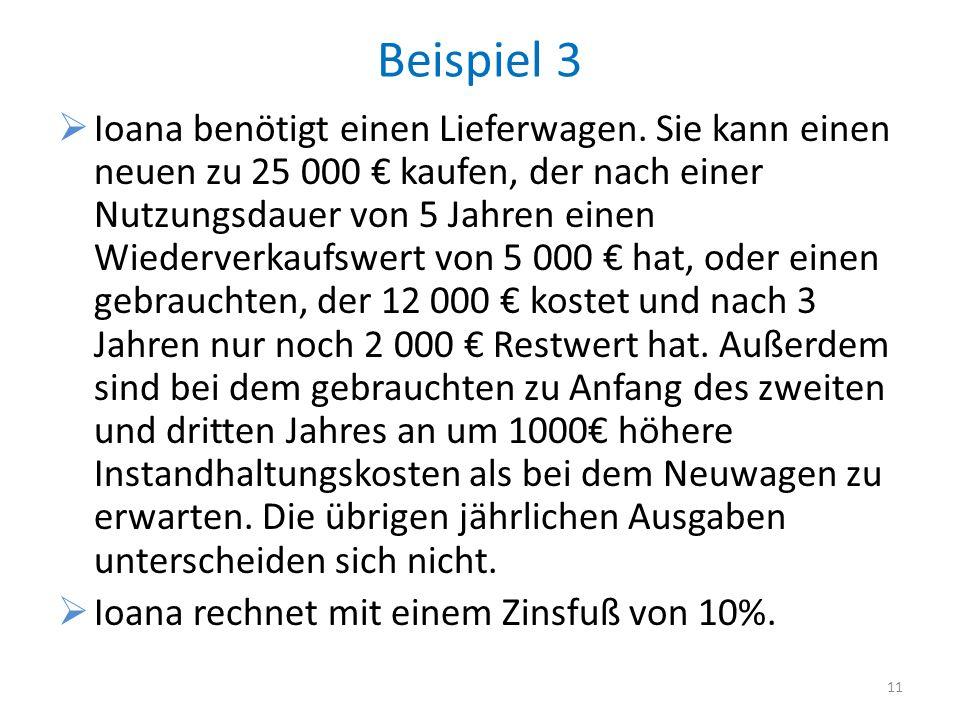 Beispiel 3 Ioana benötigt einen Lieferwagen. Sie kann einen neuen zu 25 000 kaufen, der nach einer Nutzungsdauer von 5 Jahren einen Wiederverkaufswert