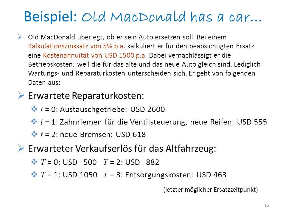 Beispiel: Old MacDonald has a car… Old MacDonald überlegt, ob er sein Auto ersetzen soll. Bei einem Kalkulationszinssatz von 5% p.a. kalkuliert er für