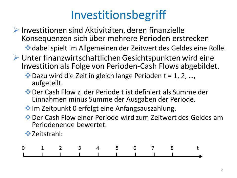 Investitionsbegriff Investitionen sind Aktivitäten, deren finanzielle Konsequenzen sich über mehrere Perioden erstrecken dabei spielt im Allgemeinen d