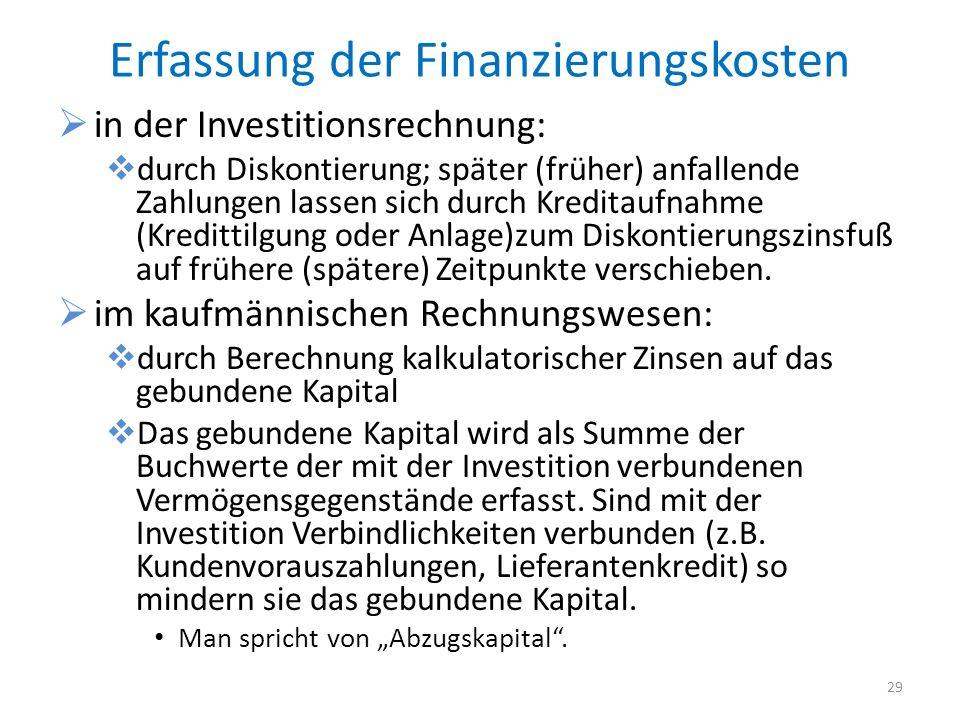 Erfassung der Finanzierungskosten in der Investitionsrechnung: durch Diskontierung; später (früher) anfallende Zahlungen lassen sich durch Kreditaufna