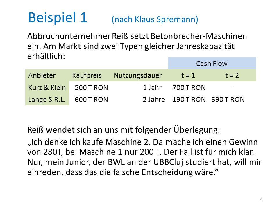 Beispiel 1 (nach Klaus Spremann) Abbruchunternehmer Reiß setzt Betonbrecher-Maschinen ein. Am Markt sind zwei Typen gleicher Jahreskapazität erhältlic