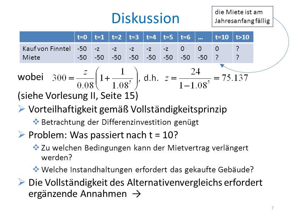 Diskussion wobei (siehe Vorlesung II, Seite 15) Vorteilhaftigkeit gemäß Vollständigkeitsprinzip Betrachtung der Differenzinvestition genügt Problem: W