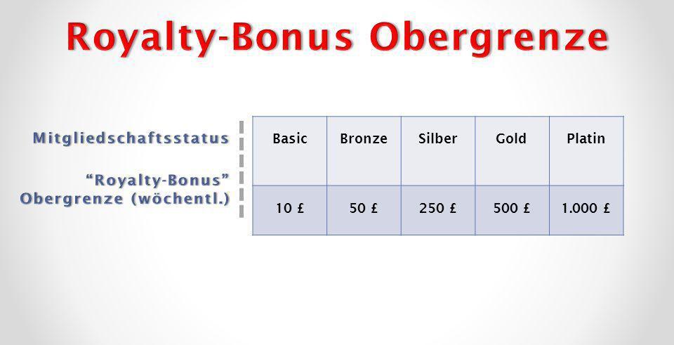 BasicBronzeSilberGoldPlatin 10 £50 £250 £500 £1.000 £