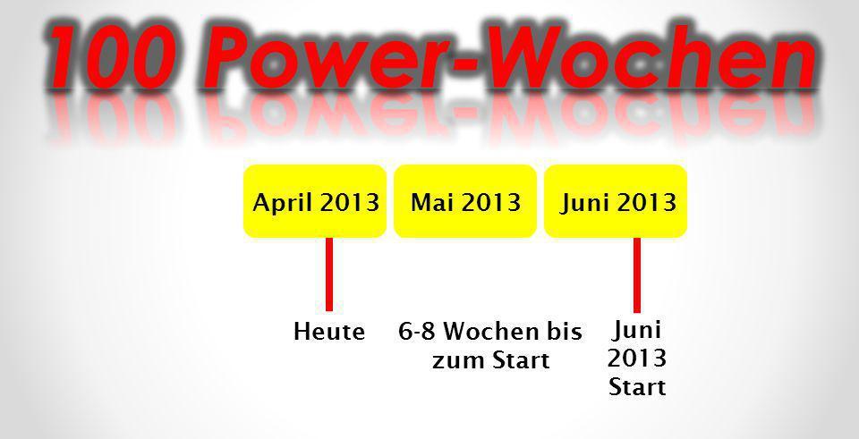 April 2013Mai 2013Juni 2013 Heute Juni 2013 Start 6-8 Wochen bis zum Start