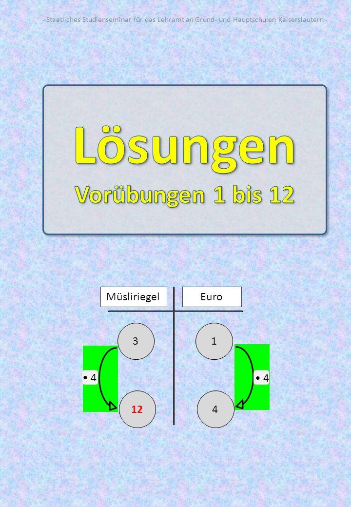Vorübung 1: 3 Müsliriegel kosten zusammen 1 Euro.Wie viele Müsliriegel bekommt man für 4 Euro.