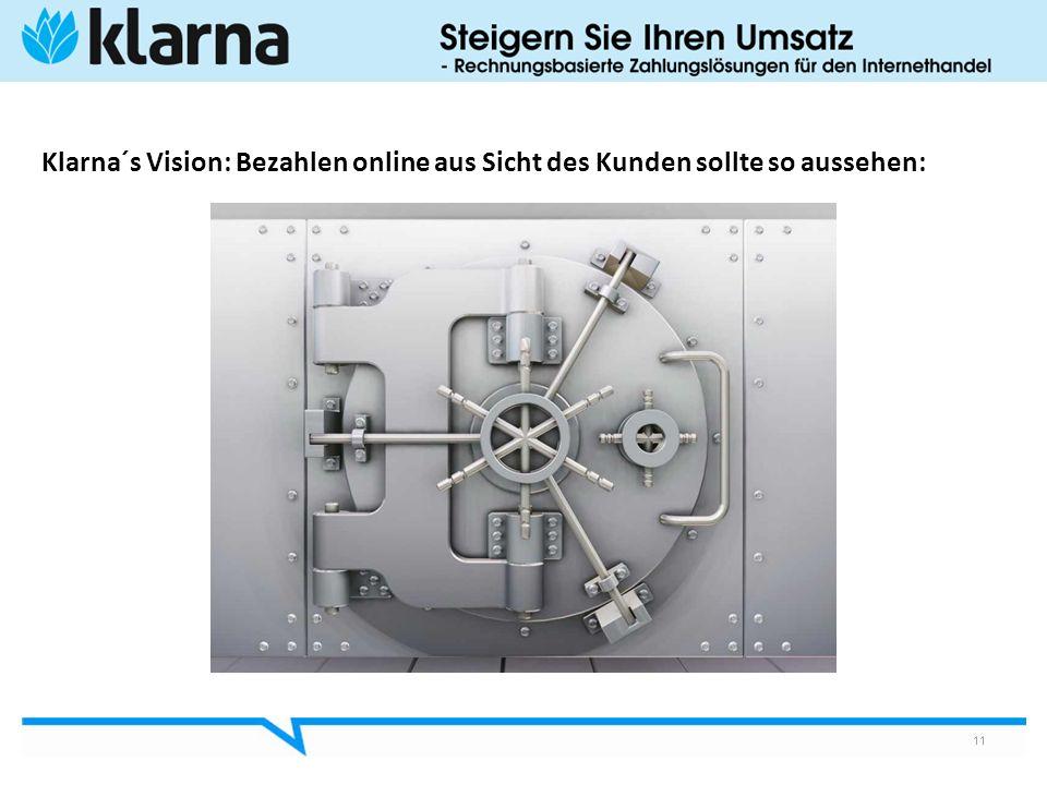 11 Klarna´s Vision: Bezahlen online aus Sicht des Kunden sollte so aussehen: