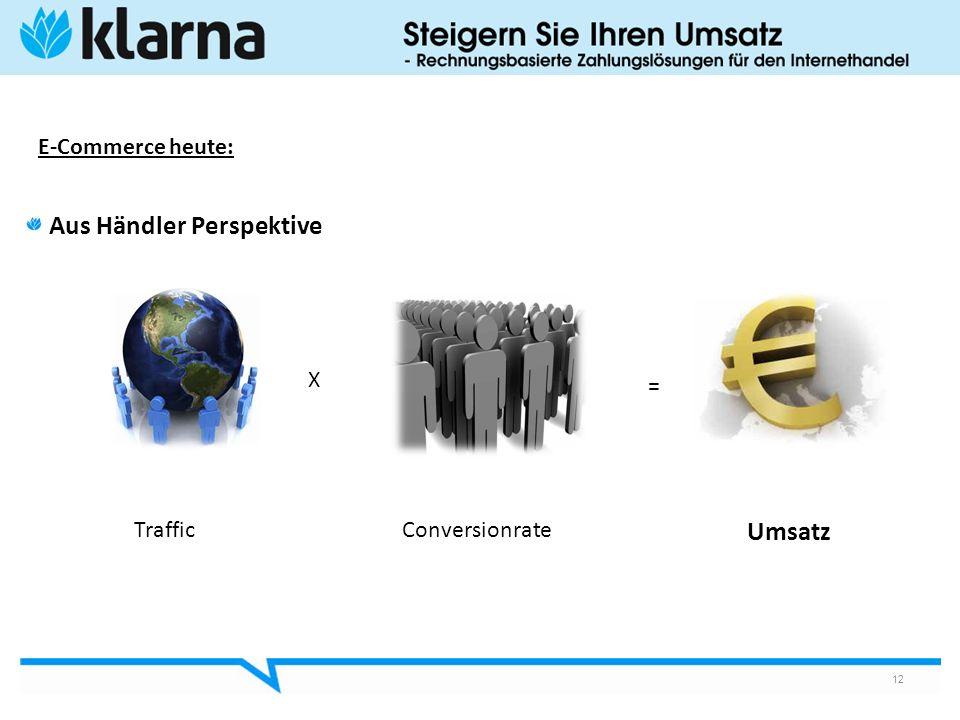 E-Commerce heute: Aus Händler Perspektive 12 Traffic X Conversionrate = Umsatz