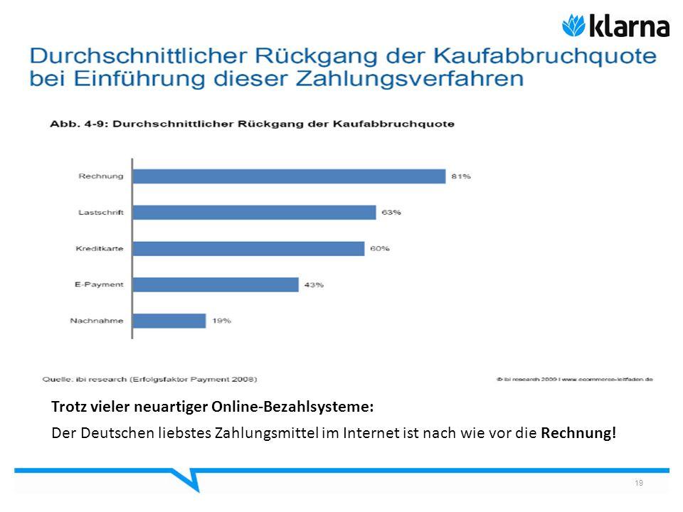 19 Trotz vieler neuartiger Online-Bezahlsysteme: Der Deutschen liebstes Zahlungsmittel im Internet ist nach wie vor die Rechnung!