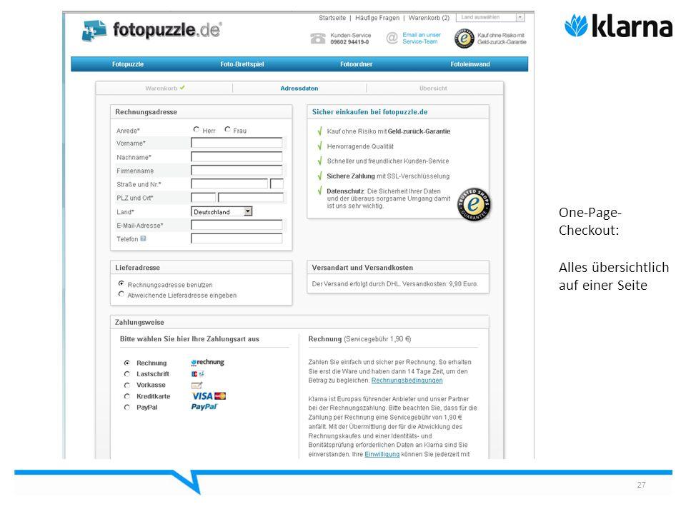 27 One-Page- Checkout: Alles übersichtlich auf einer Seite