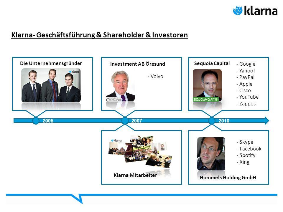 Klarna- Geschäftsführung & Shareholder & Investoren 3 Die Unternehmensgründer Klarna Mitarbeiter 2005 Investment AB Öresund - Volvo 2007 Sequoia Capit