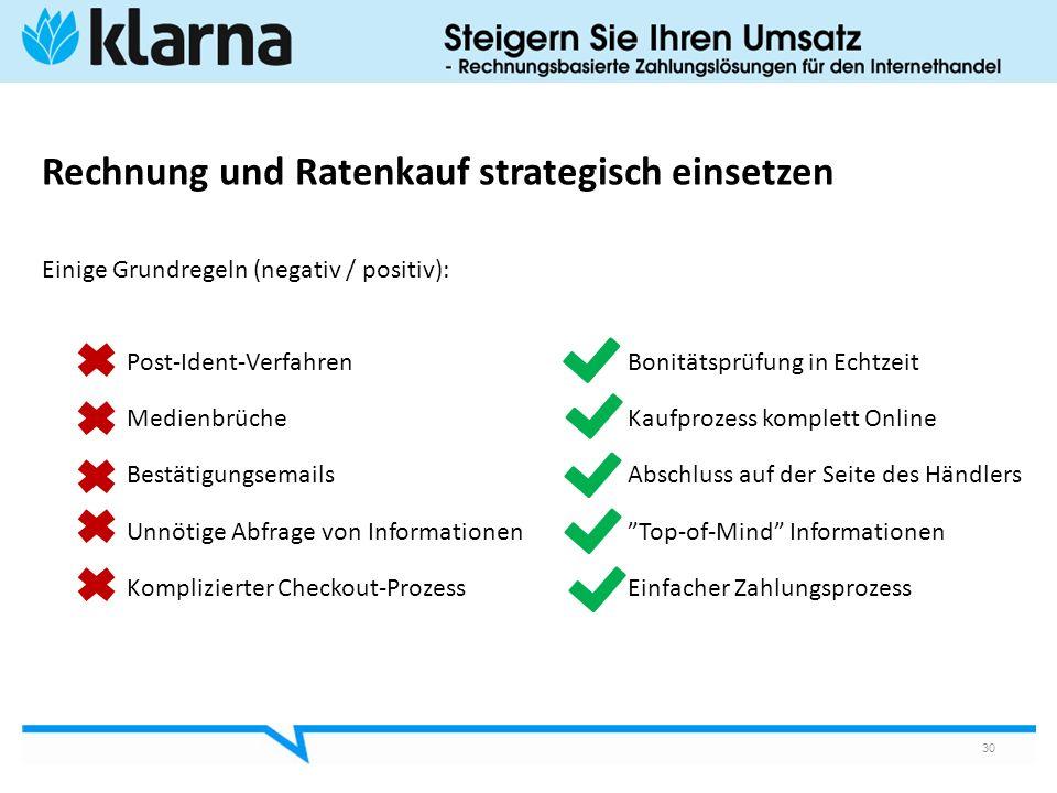 Rechnung und Ratenkauf strategisch einsetzen Einige Grundregeln (negativ / positiv): Post-Ident-Verfahren Bonitätsprüfung in Echtzeit Medienbrüche Kau