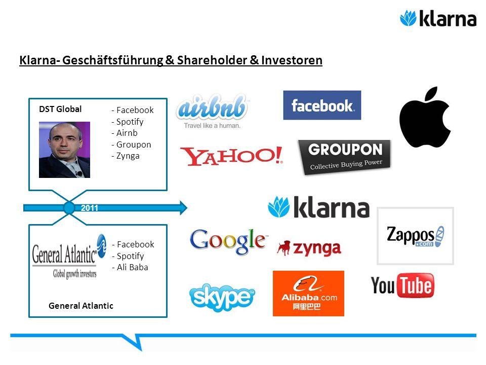 Klarna- Geschäftsführung & Shareholder & Investoren 4 DST Global - Facebook - Spotify - Airnb - Groupon - Zynga 2011 General Atlantic - Facebook - Spo