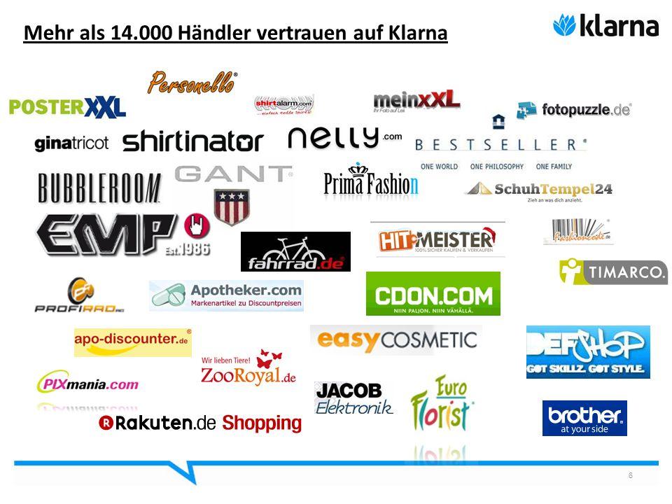 6 Mehr als 14.000 Händler vertrauen auf Klarna