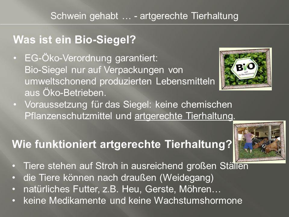 Schwein gehabt … - artgerechte Tierhaltung Was ist ein Bio-Siegel? Wie funktioniert artgerechte Tierhaltung? EG-Öko-Verordnung garantiert: Bio-Siegel