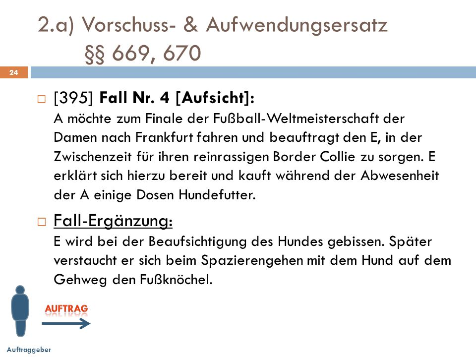 2.a) Vorschuss- & Aufwendungsersatz §§ 669, 670 24 [395] Fall Nr.