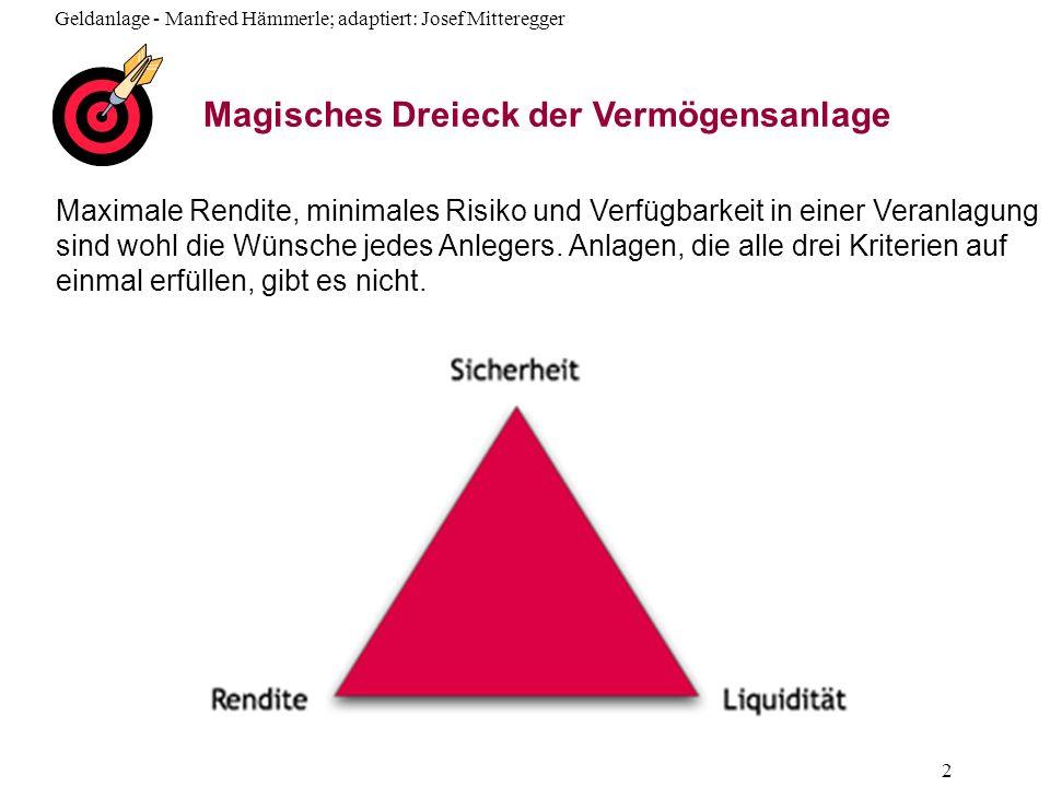 Geldanlage - Manfred Hämmerle; adaptiert: Josef Mitteregger 43 Geldmarktfonds Investieren in kurzfristige Geldanlagen mit einer Restlauf- zeit von max.