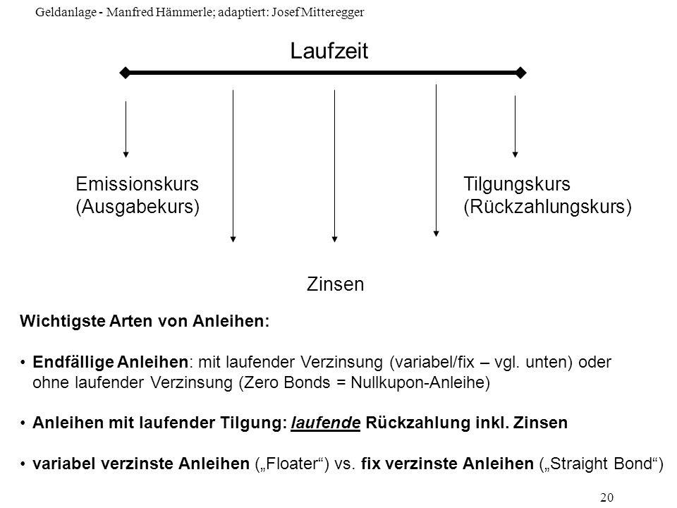 Geldanlage - Manfred Hämmerle; adaptiert: Josef Mitteregger 20 Emissionskurs (Ausgabekurs) Laufzeit Tilgungskurs (Rückzahlungskurs) Zinsen Wichtigste