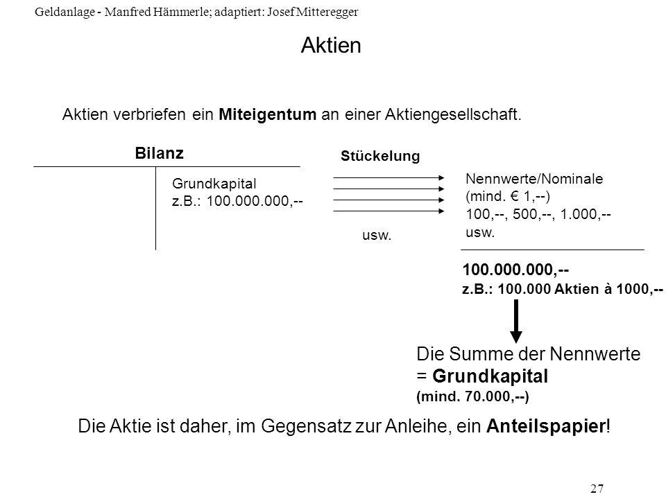 Geldanlage - Manfred Hämmerle; adaptiert: Josef Mitteregger 27 Aktien Aktien verbriefen ein Miteigentum an einer Aktiengesellschaft. Bilanz Grundkapit