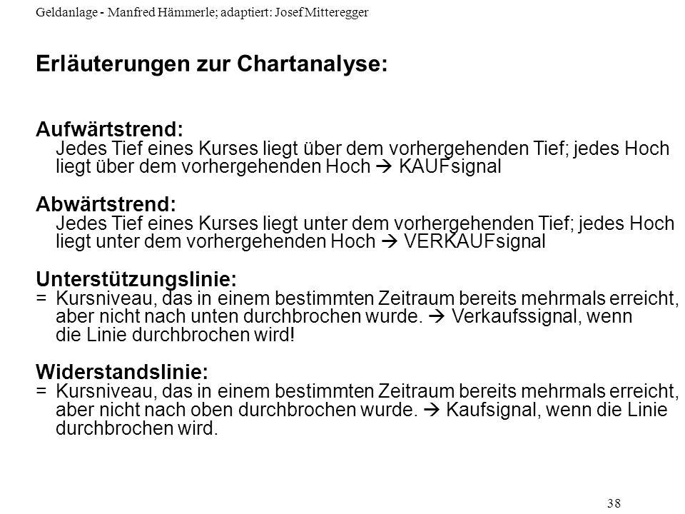 Geldanlage - Manfred Hämmerle; adaptiert: Josef Mitteregger 38 Erläuterungen zur Chartanalyse: Aufwärtstrend: Jedes Tief eines Kurses liegt über dem v