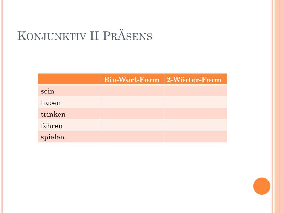 P OLITE R EQUESTS AND W ISHES Auf Englisch sagt man: would Auf Deutsch sagt nimmt man Formen von: werden- würde haben- hätte sein- wäre Würdest du bitte mehr Deutsch Vokabeln lernen.