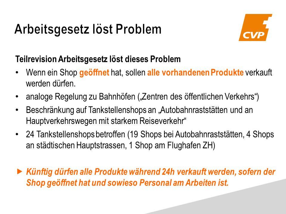 Teilrevision Arbeitsgesetz löst dieses Problem Wenn ein Shop geöffnet hat, sollen alle vorhandenen Produkte verkauft werden dürfen.