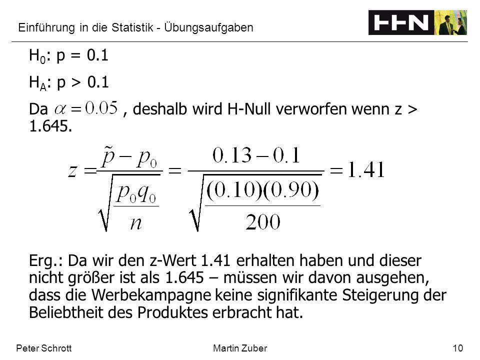 Einführung in die Statistik - Übungsaufgaben Peter SchrottMartin Zuber10 H 0 : p = 0.1 H A : p > 0.1 Da, deshalb wird H-Null verworfen wenn z > 1.645.