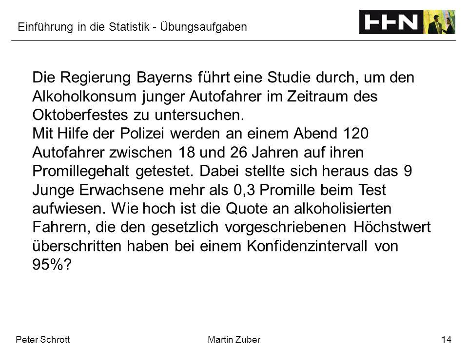 Einführung in die Statistik - Übungsaufgaben Peter SchrottMartin Zuber14 Die Regierung Bayerns führt eine Studie durch, um den Alkoholkonsum junger Au