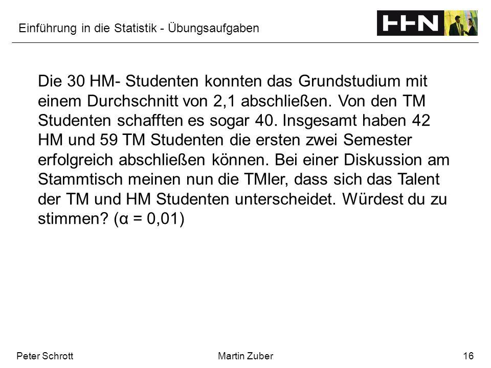 Einführung in die Statistik - Übungsaufgaben Peter SchrottMartin Zuber16 Die 30 HM- Studenten konnten das Grundstudium mit einem Durchschnitt von 2,1