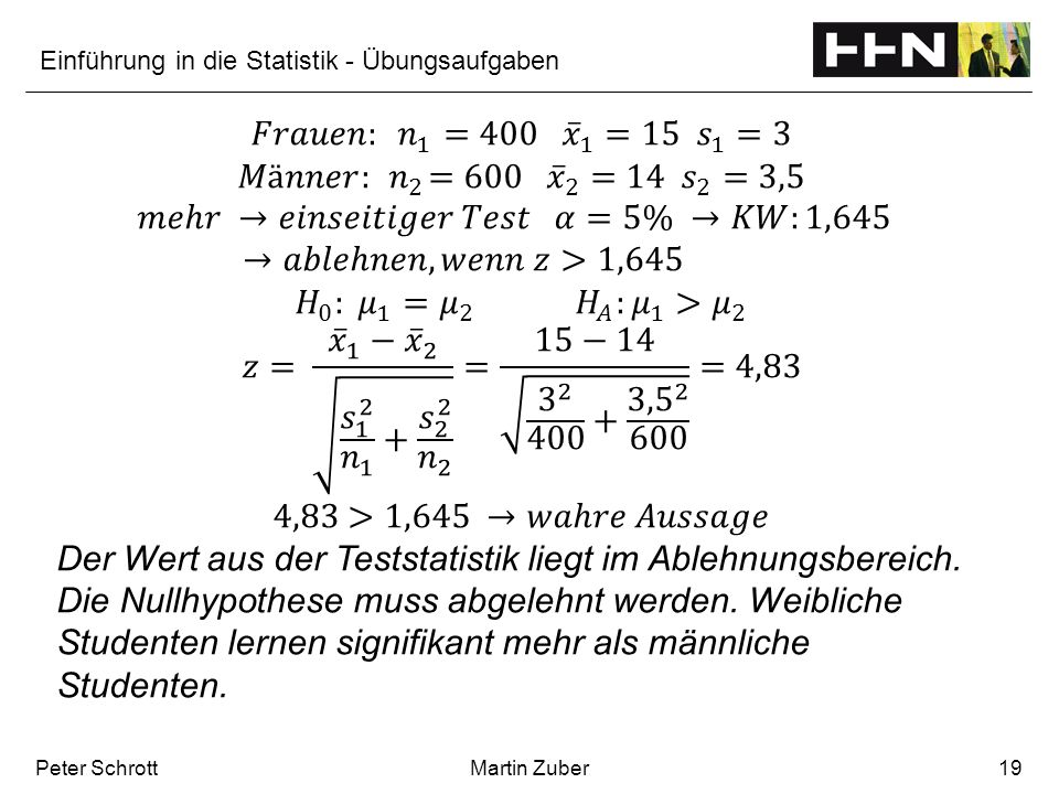 Einführung in die Statistik - Übungsaufgaben Peter SchrottMartin Zuber19