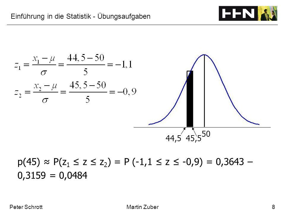 Einführung in die Statistik - Übungsaufgaben Peter SchrottMartin Zuber8 p(45) P(z 1 z z 2 ) = P (-1,1 z -0,9) = 0,3643 – 0,3159 = 0,0484 44,545,5 50