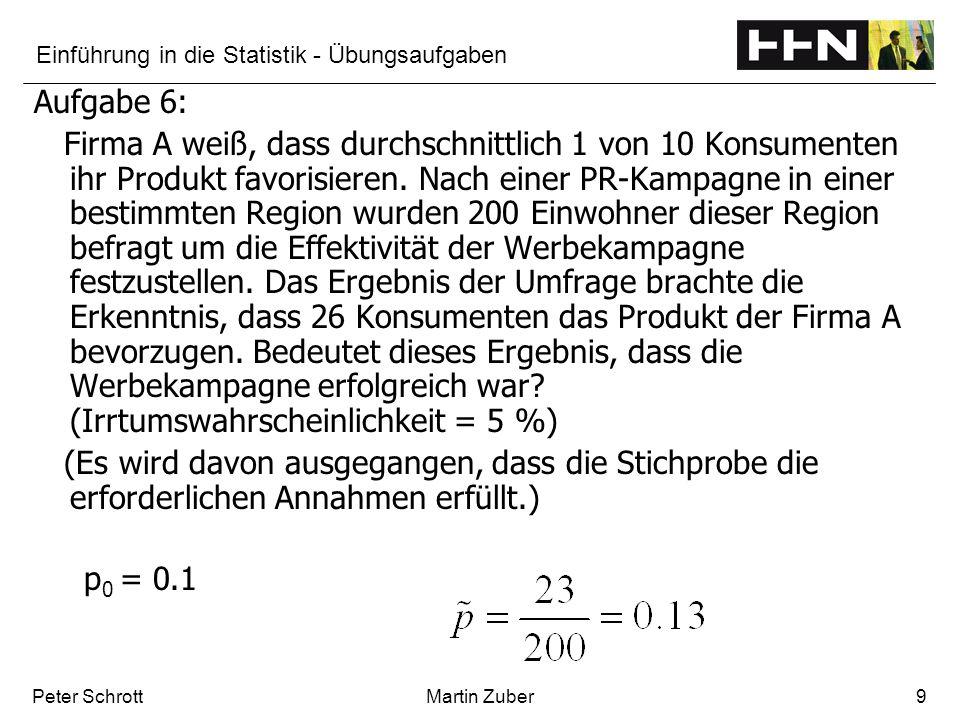 Einführung in die Statistik - Übungsaufgaben Peter SchrottMartin Zuber9 Aufgabe 6: Firma A weiß, dass durchschnittlich 1 von 10 Konsumenten ihr Produk
