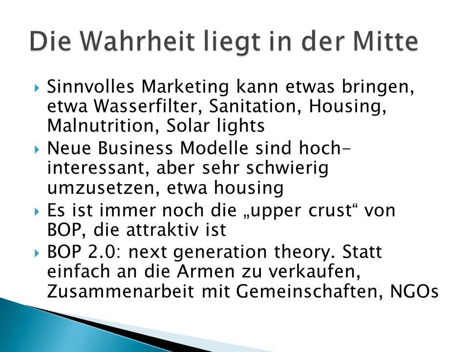 Sinnvolles Marketing kann etwas bringen, etwa Wasserfilter, Sanitation, Housing, Malnutrition, Solar lights Neue Business Modelle sind hoch- interessa