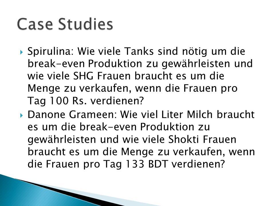 Spirulina: Wie viele Tanks sind nötig um die break-even Produktion zu gewährleisten und wie viele SHG Frauen braucht es um die Menge zu verkaufen, wenn die Frauen pro Tag 100 Rs.