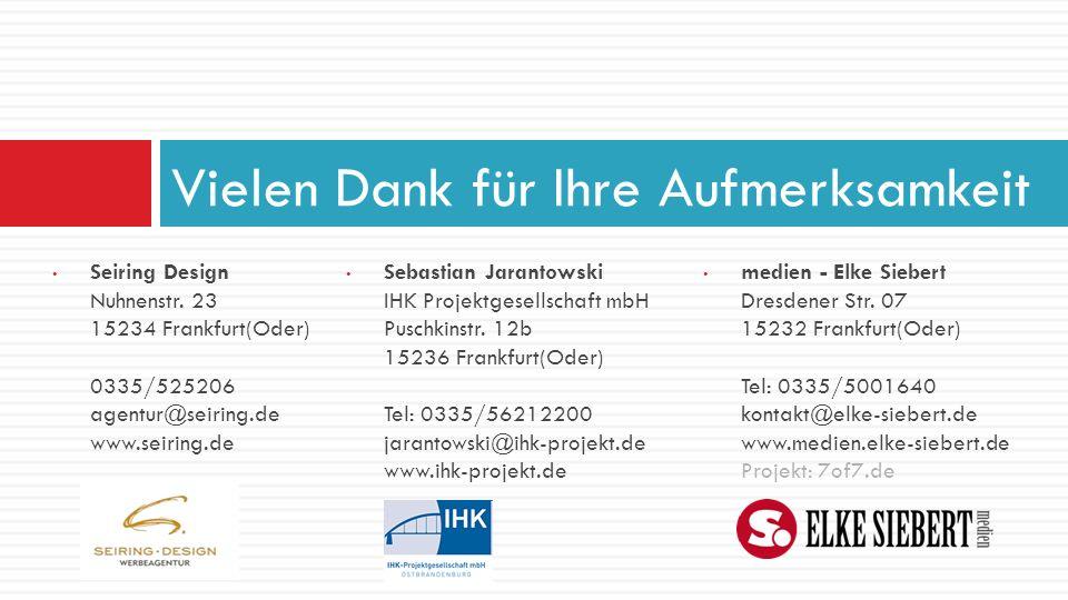 Seiring Design Nuhnenstr. 23 15234 Frankfurt(Oder) 0335/525206 agentur@seiring.de www.seiring.de Vielen Dank für Ihre Aufmerksamkeit Sebastian Jaranto