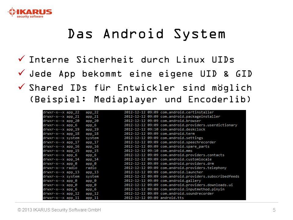 Berechtigungen Jede App muss Berechtigungen anfordern um Systemdienste zu verwenden Eine Berechtigung entspricht meist einer Linux GID 140 Berechtigungen von Android + Herstellerspezifische Zum Teil zu ungenau definiert 6 © 2013 IKARUS Security Software GmbH