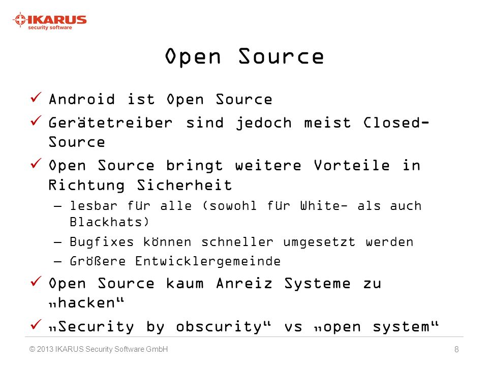 Android Malware all at once PUA – Potential Unwanted Apps –Adware –Hacking Tools –Riskware Trojaner –Rooter –Botnetze –SMS Sender Spyware –Datalogger / Dataleaker –Spionageapps Device Locking (etwa über USSD) 19 © 2013 IKARUS Security Software GmbH