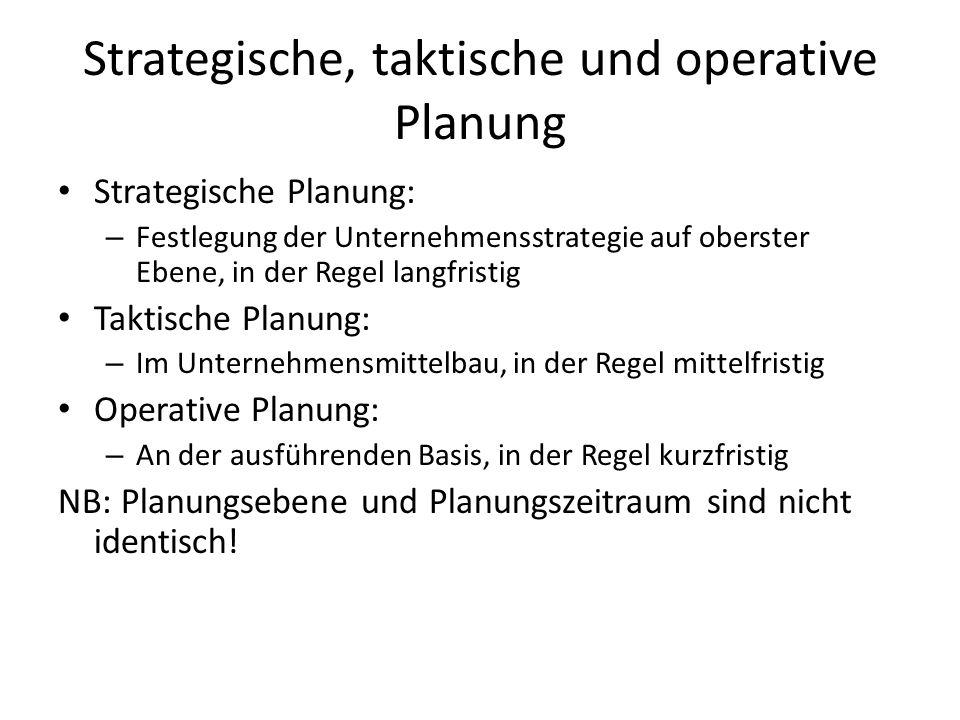 Strategische, taktische und operative Planung Strategische Planung: – Festlegung der Unternehmensstrategie auf oberster Ebene, in der Regel langfristi