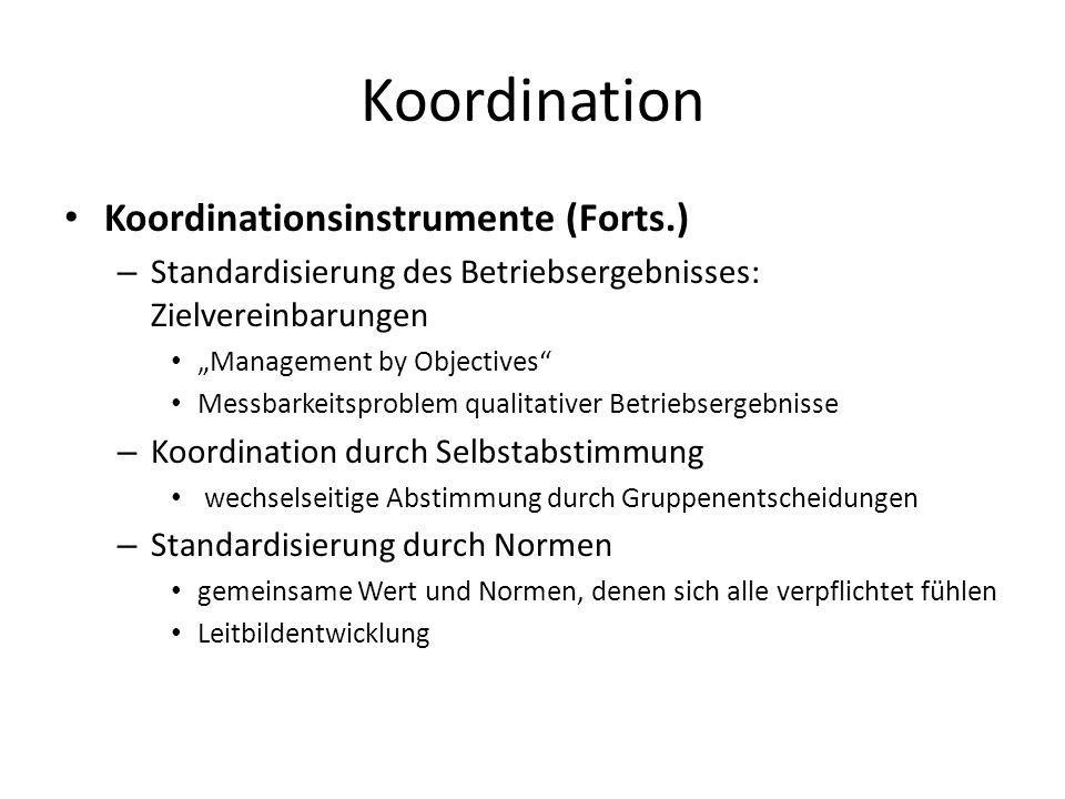 Koordination Koordinationsinstrumente (Forts.) – Standardisierung des Betriebsergebnisses: Zielvereinbarungen Management by Objectives Messbarkeitspro
