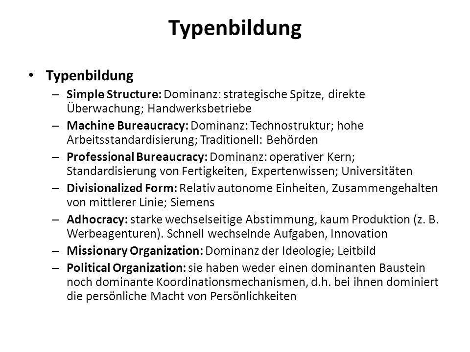 Typenbildung – Simple Structure: Dominanz: strategische Spitze, direkte Überwachung; Handwerksbetriebe – Machine Bureaucracy: Dominanz: Technostruktur