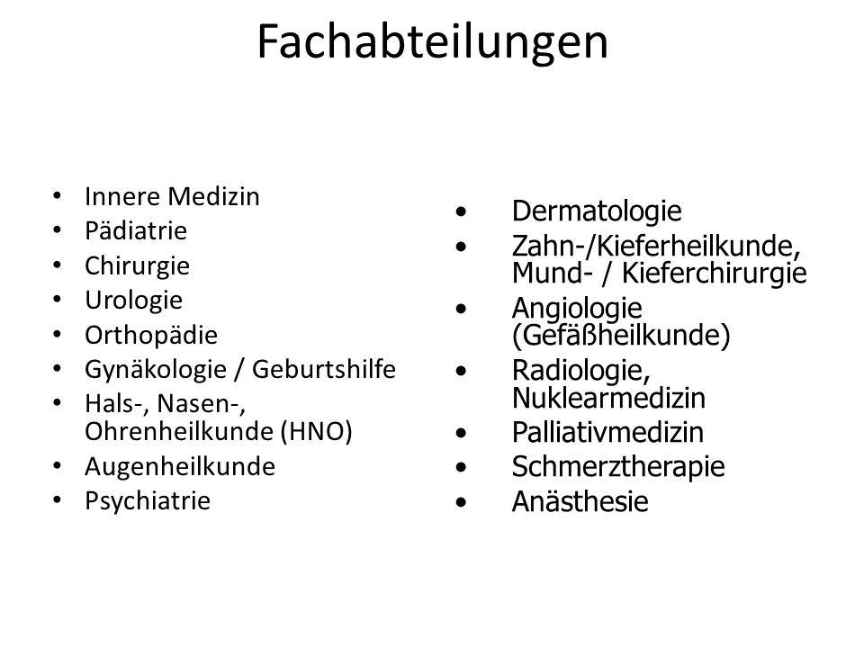 Fachabteilungen Innere Medizin Pädiatrie Chirurgie Urologie Orthopädie Gynäkologie / Geburtshilfe Hals-, Nasen-, Ohrenheilkunde (HNO) Augenheilkunde P
