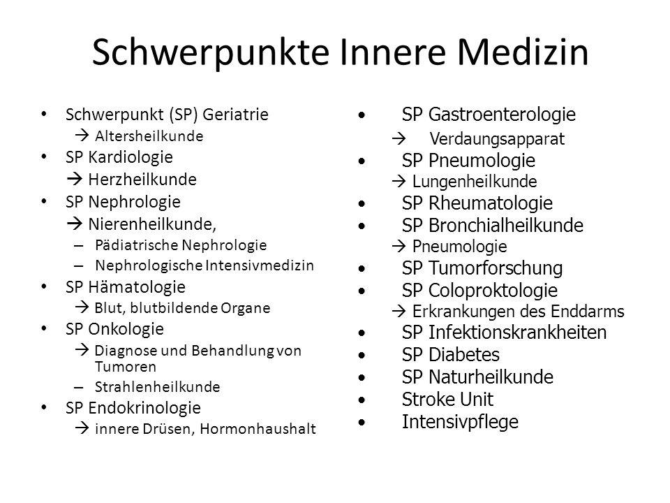 Schwerpunkte Innere Medizin Schwerpunkt (SP) Geriatrie Altersheilkunde SP Kardiologie Herzheilkunde SP Nephrologie Nierenheilkunde, – Pädiatrische Nep