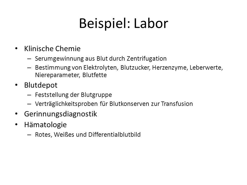 Beispiel: Labor Klinische Chemie – Serumgewinnung aus Blut durch Zentrifugation – Bestimmung von Elektrolyten, Blutzucker, Herzenzyme, Leberwerte, Nie