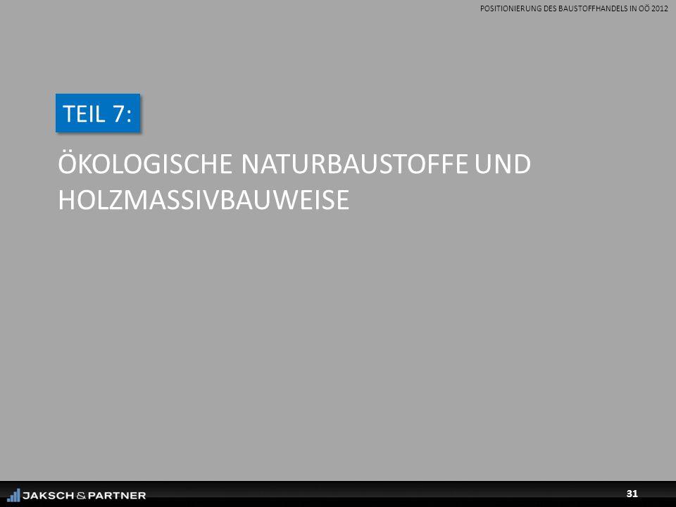 POSITIONIERUNG DES BAUSTOFFHANDELS IN OÖ 2012 31 ÖKOLOGISCHE NATURBAUSTOFFE UND HOLZMASSIVBAUWEISE TEIL 7:
