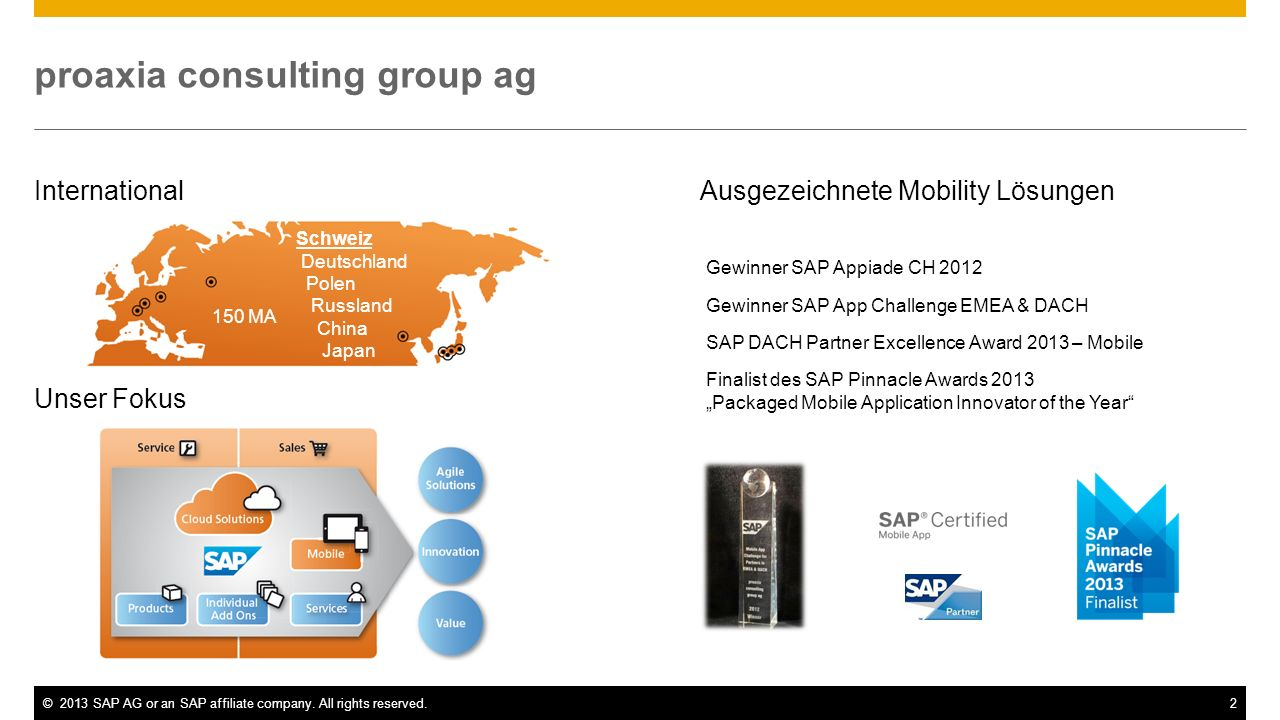 ©2013 SAP AG or an SAP affiliate company. All rights reserved.2 proaxia consulting group ag International Unser Fokus Schweiz Deutschland Polen Russla