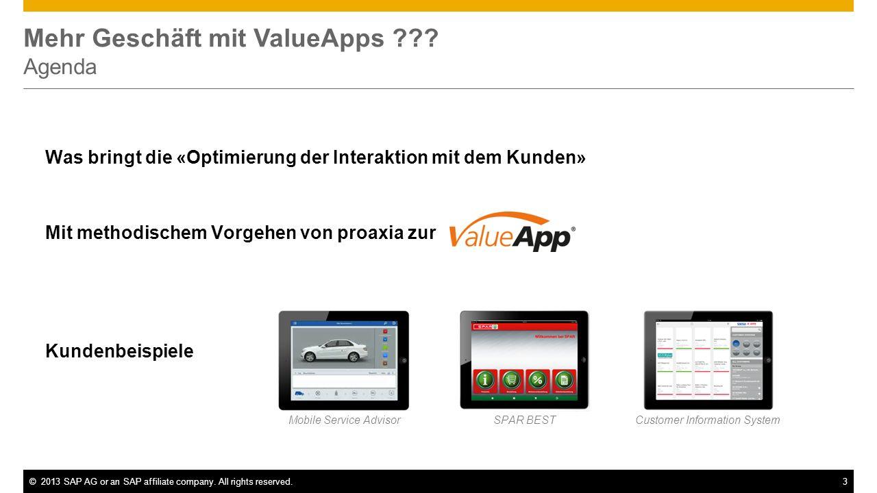 ©2013 SAP AG or an SAP affiliate company. All rights reserved.3 Mehr Geschäft mit ValueApps ??? Agenda Was bringt die «Optimierung der Interaktion mit