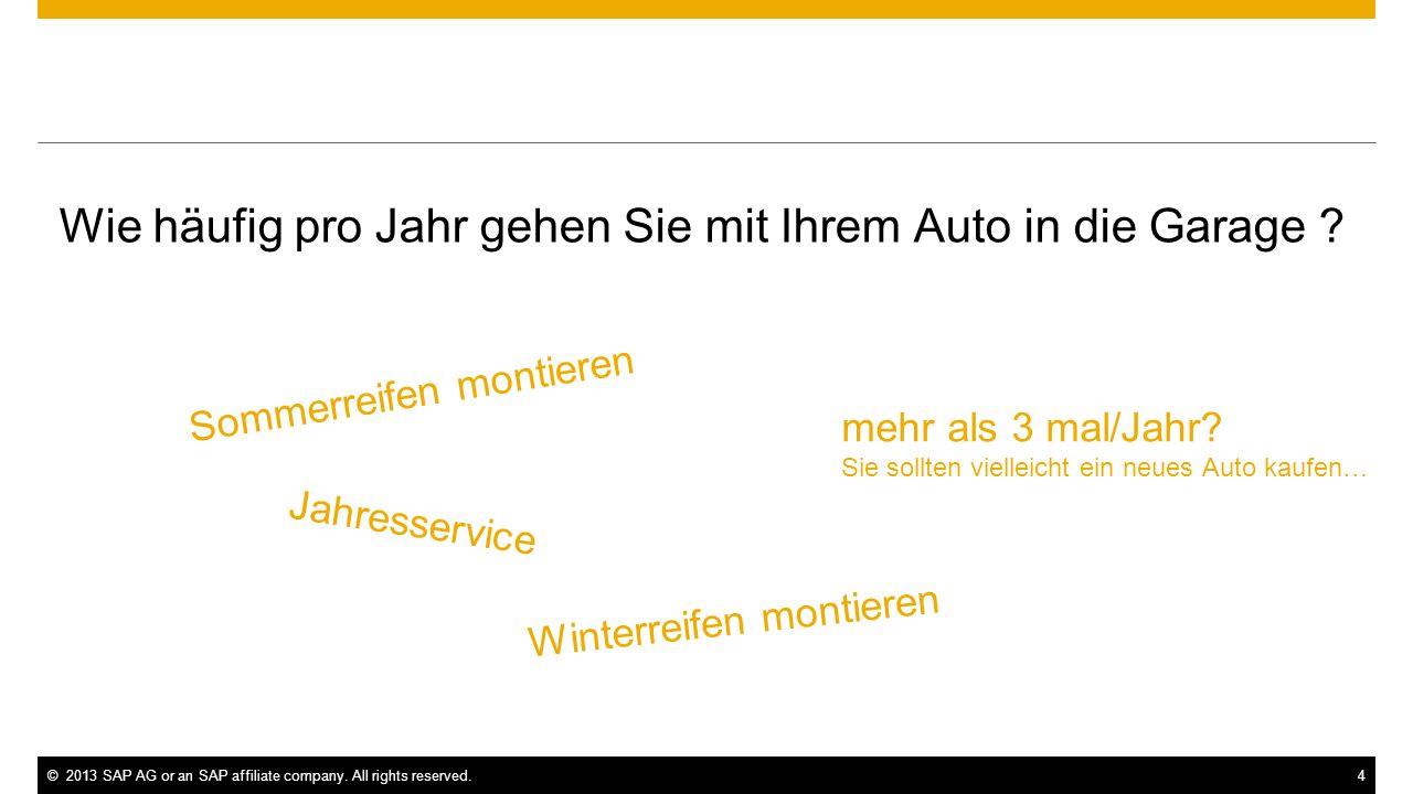 ©2013 SAP AG or an SAP affiliate company. All rights reserved.4 Wie häufig pro Jahr gehen Sie mit Ihrem Auto in die Garage ? Jahresservice mehr als 3