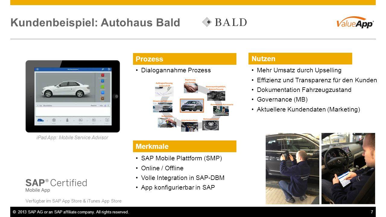 ©2013 SAP AG or an SAP affiliate company. All rights reserved.7 Kundenbeispiel: Autohaus Bald Verfügbar im SAP App Store & iTunes App Store iPad App: