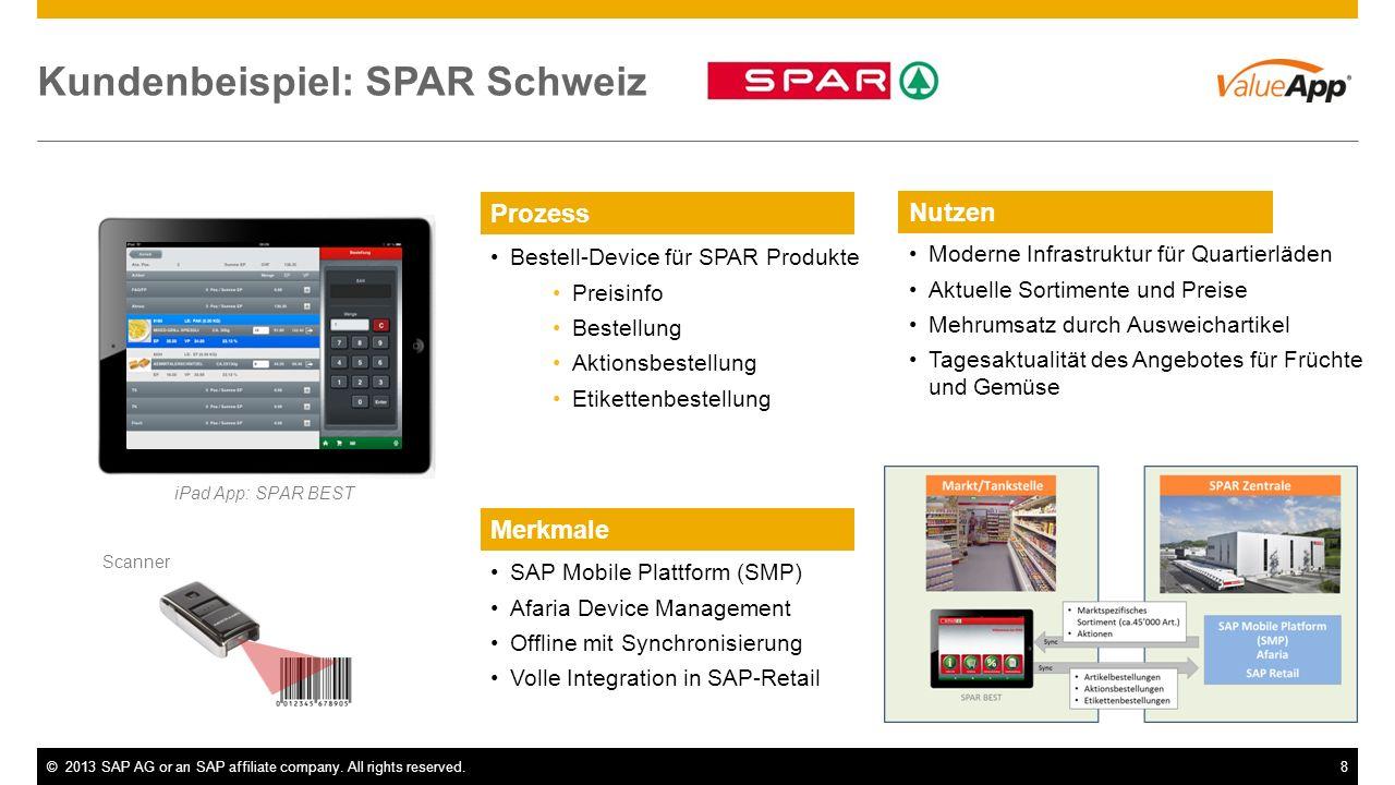 ©2013 SAP AG or an SAP affiliate company. All rights reserved.8 Kundenbeispiel: SPAR Schweiz iPad App: SPAR BEST Bestell-Device für SPAR Produkte Prei